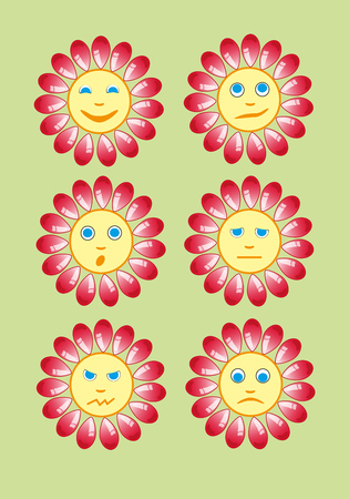 Beautiful and funny yellow smiley in a small set of sun. illustration