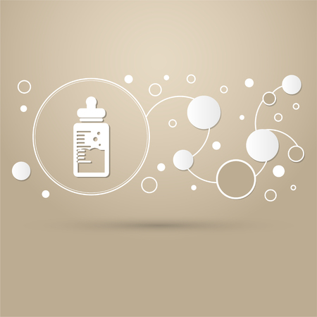 Baby milk bottle icon on a brown background with elegant style and modern design infographic. illustration