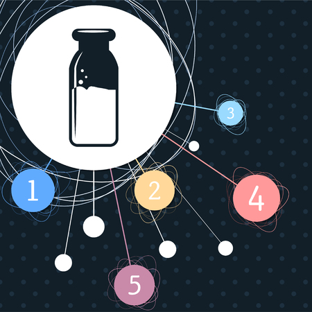 traditional bottle of milk icon with the background to the point and with infographic style. illustration