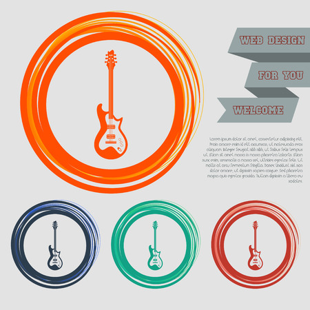Electric guitar icon. on the red, blue, green, orange buttons for your website and design with space text. illustration Stock Photo