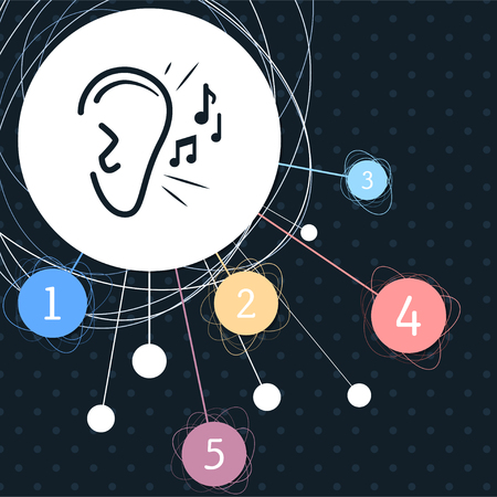 Ear listen sound signal icon with the background to the point and with infographic style. illustration Stock Photo