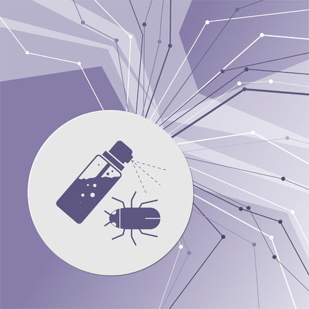 Mosquito spray, Bug Spray icon on purple abstract modern background. The lines in all directions. With room for your advertising. illustration 스톡 콘텐츠