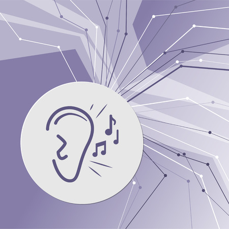 Ear listen sound signal icon on purple abstract modern background. The lines in all directions. With room for your advertising. illustration