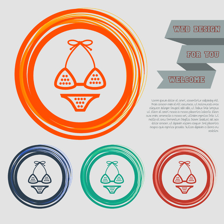 Underwear, bikini icon on the red, blue, green, orange buttons for your website and design with space text. illustration Stock Photo