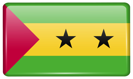 Flags of Sao Tome and Principe in the form of a magnet on refrigerator with reflections light. illustration Stock Photo
