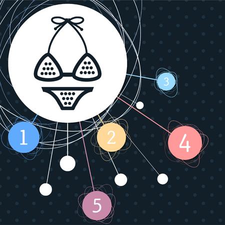 Underwear, bikini icon with the background to the point and with infographic style. illustration Imagens