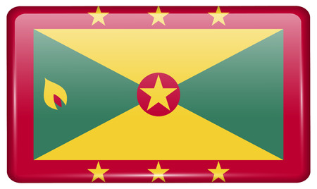 Flags of Grenada in the form of a magnet on refrigerator with reflections light. illustration