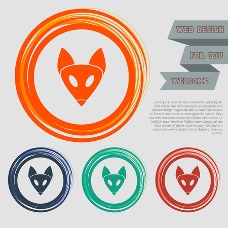 Fox icon on the red, blue, green, orange buttons for your website and design with space text. illustration