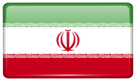 Flags of Iran in the form of a magnet on refrigerator with reflections light. illustration Stok Fotoğraf