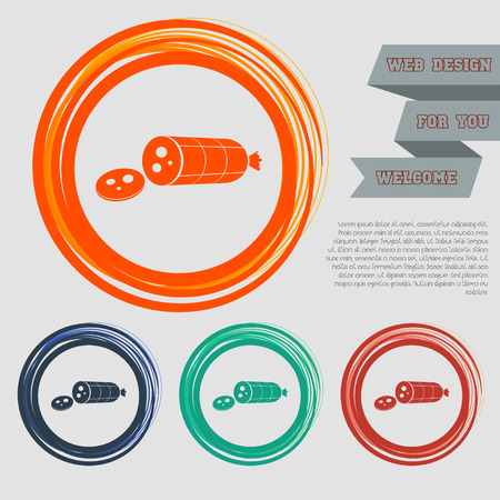 Smoked sausage sliced Icon on the red, blue, green, orange buttons for your website and design with space text. illustration Stock Photo