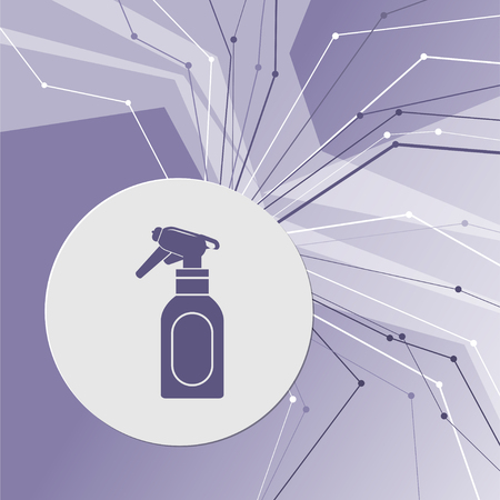 Spray icon on purple abstract modern background. The lines in all directions. With room for your advertising. illustration Stock Photo