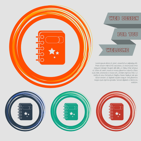 book Icon on the red, blue, green, orange buttons for your website and design with space text. illustration