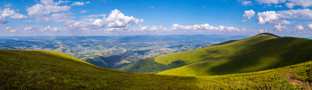 panorama of mountain peaks and forest plains Stok Fotoğraf