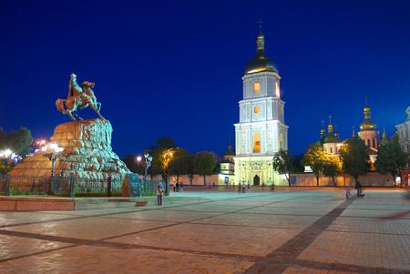 evening square with a monument to the famous Hetman Bogdan Khmelnytsky riding horse. Kiev. Ukraine