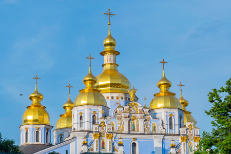 golden domes and crosses of Kiev-Pechersk Lavra