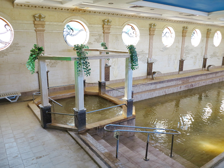 descend to the pool with warm thermal water and a separate jacuzzi in the indoor pavilion of the resting kit Zhaivoronok . Berehove Ukraine