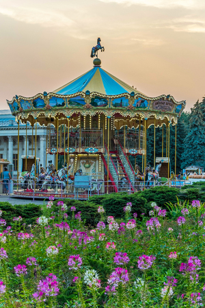 Carousel with horses surrounded by flowers. Interesting entertainment for children