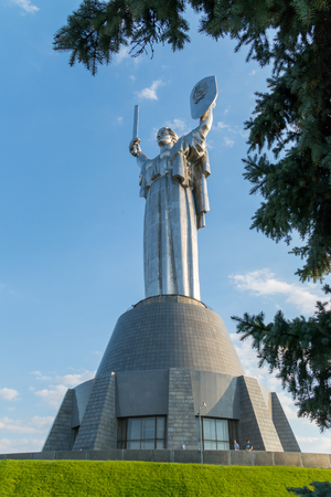 Motherland, a monumental sculpture, which is on the right bank of the Dnieper. A symbol of victory and protection Stock fotó - 104683081