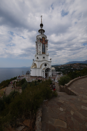 Beautiful high Foros church on the rocky coast of the Black Sea. Foross, Crimea, Ukraine
