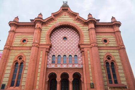 Beautiful ancient orthodox synagogue in Moorish style. Uzhhorod, Ukraine