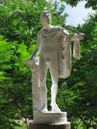 white statue of Apollo Belvedere in the garden Editorial