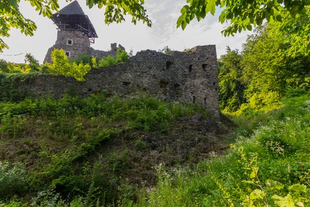 the ruined wall of an ancient castle in green bushes Editorial