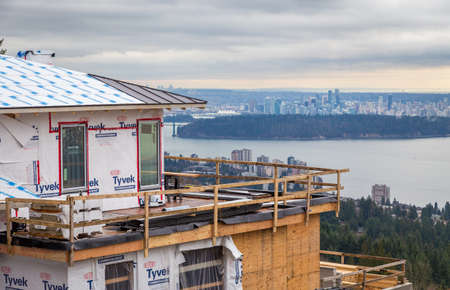 WEST VANCOUVER, BC, CANADA - FEB 10, 2016: New home being built in West Vancouvers British Properties. The area continues to see a wave of investment from the Chinese market.