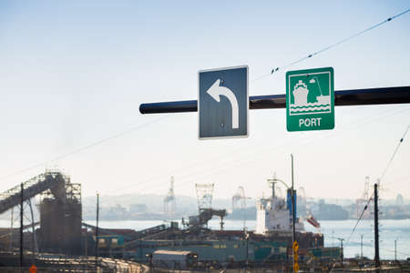 Sign for the cargo port in North Vancouver, BC, Canada.