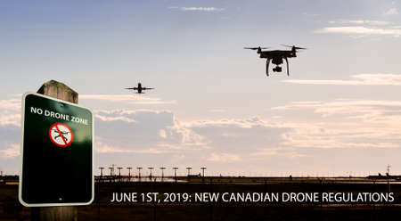 A composite photo of a drone flying near an airport with a no drone sign and text for new Canadian drone regulations coming into effect June 1st, 2019. Stock fotó
