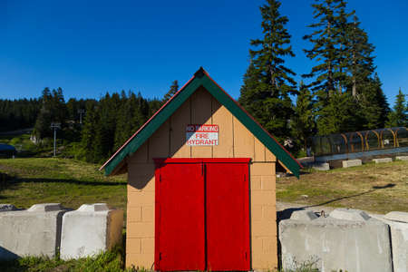 Wood shed at Mount Seymour for fire supression. Фото со стока