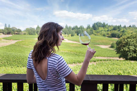 Attractive young brunette woman at a beautiful winery with a glass of red wine. Stock Photo