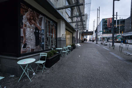 DOWNTOWN VANCOUVER, BC, CANADA - MAR 23, 2020: An empty Granville Street in downtown Vancouver as a result of the COVID-19 virus pandemic.