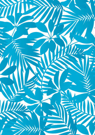 Tropical leaves Aqua blue Иллюстрация
