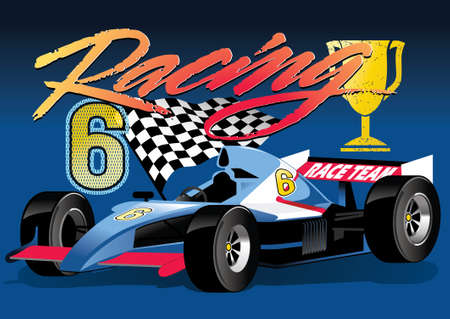 car flag: Racing car Illustration