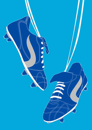 soccer shoe: Blue football shoes Illustration
