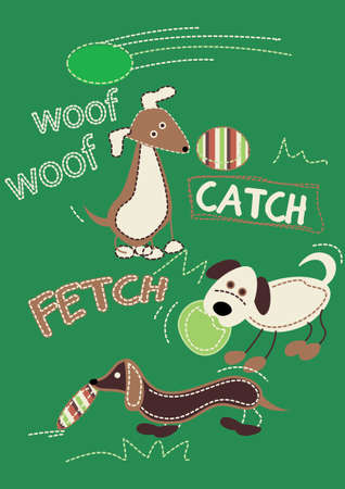 fetch: 3 dogs playing