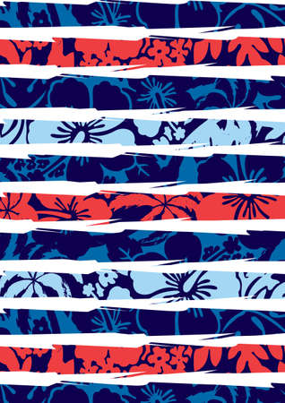 Beach hibiscus and stripes  Illustration