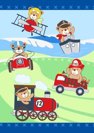 camion de bomberos: Oso y juguetes Vectores