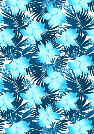 aqua flowers: Blue hibiscus flowers in repeat pattern