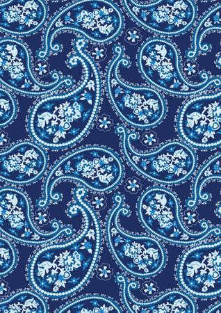 ブルーのペイズリー柄  イラスト・ベクター素材