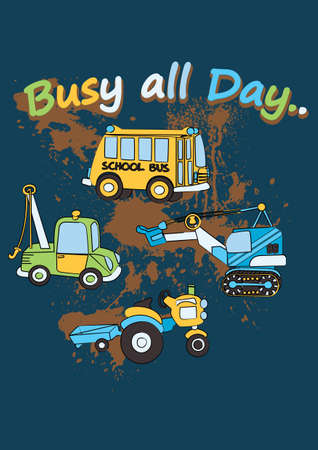 kids wear: Busy all day  Illustration