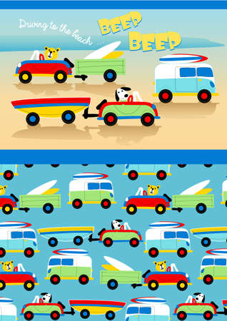 Driving to the beach Vector