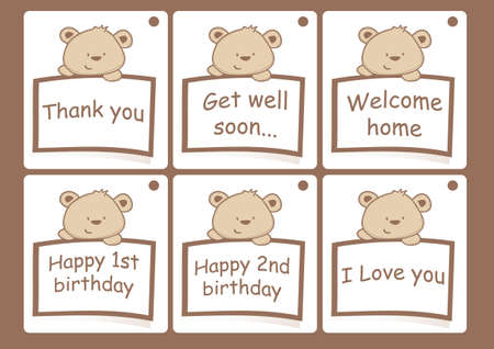 Gift cards with bears Vector