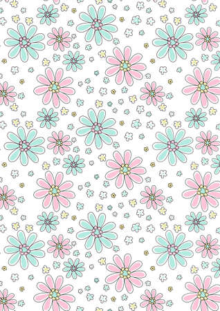 Light pink and aqua floral pattern  Vector