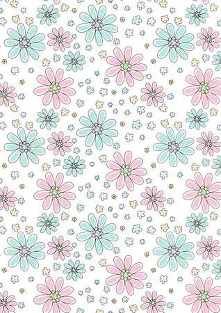 aqua flowers: Light pink and aqua floral pattern  Illustration