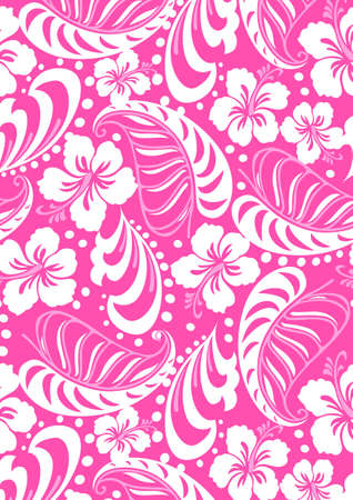 Pink tropical in repeat pattern  Vector