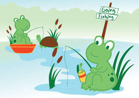 amphibian: Pond frog Illustration