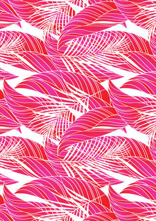 fern leaf: Red tropical leaves in repeat pattern  Illustration