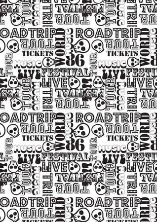 newsprint: Road trip music tour pattern