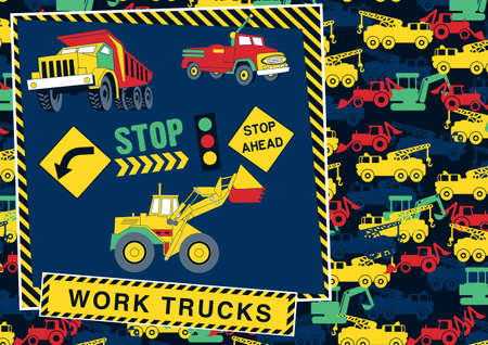 tractor warning: Stop  work trucks ahead